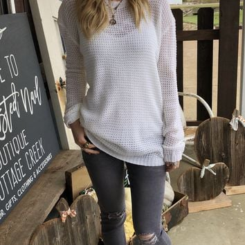 White Open Weave Sweater