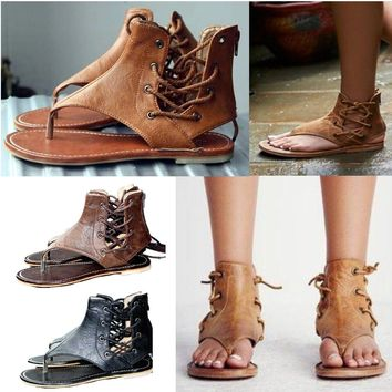 Women Bohemian Gladiator Sandals Flat Ankle Strap Summer Casual Leather Shoes