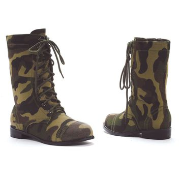 Children's 1 Inch Heel Camo Ankle Boot (Small,Camouflage/Black)