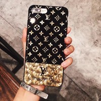 LV Louis Vuitton Electroplating dazzle black iphone 6 6s 7 7plus iPhone Phone Cover soft Case soft shell