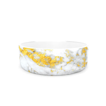 "KESS Original ""Gold Flake"" Marble Ceramic Pet Bowl"