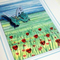 "Butterfly ACEO field of poppies and  hearts on card 4.25"" x 5.5"""