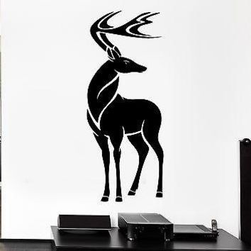 Wall Decal Elk Deer Horns Beautiful Animal Artiodactyl Vinyl Stickers Unique Gift (ed235)