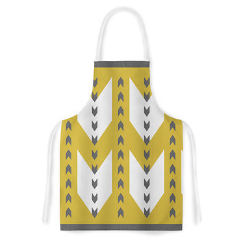 "Pellerina Design ""Golden Aztec"" Yellow White Artistic Apron"