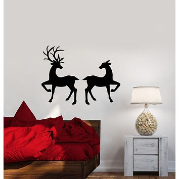 Vinyl Wall Decal Love Family Forest Animals Deer Stickers (3871ig)
