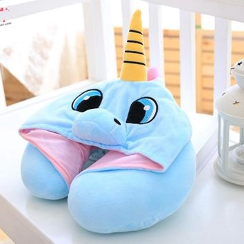 Lovely Unicorn Hood Neck U Pillow Decorative Blue Pink Soft Office Nap Cushion Cute Cartoon Doll Plush Toy Gift for Children Kid