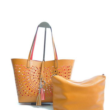 Laser Cut Reversible Tote Bag CAMEL