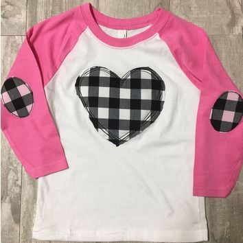 Kids Vintage Heart Raglan Elbow Patch Sleeves
