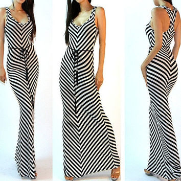 Women Lady Summer Boho Striped Long Maxi Evening Cocktail Party Slim Sundress = 1705238084