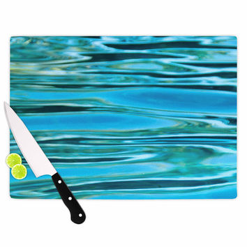 "Susan Sanders ""Blue Water"" Teal  Cutting Board"