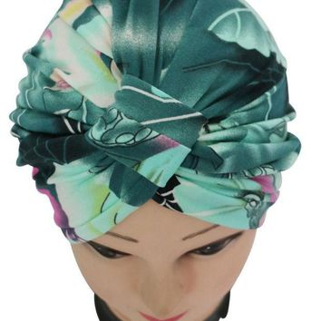 PEAPUNT 2016 New Vintage Dark Green Floral Print Indian Turban Hat For Women Ladies