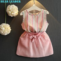 Girls Dress Princess Dress for Kids Clothes Striped Sleeveless+Bow Dress for Girls Clothes