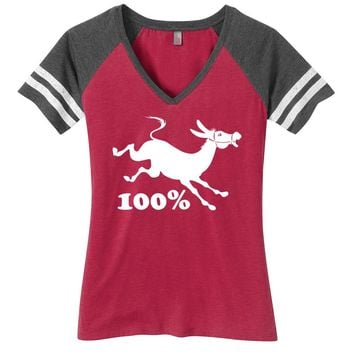 100% Jackass Ladies Game Day Style Ring Spun with Stripes T-Shirt
