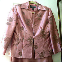 Lovely~ Size 6 Mauve Rose Pink MOTHER of the BRIDE Wedding Long Dress and Jacket Jessica Howard Beaded Sequins Cocktail Dress Fully Lined