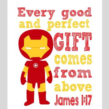 Ironman Superhero Christian Nursery Decor Print - Every Good and Perfect Gift Comes From Above - James 1:17