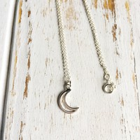 Sterling Silver Crescent Moon Charm Necklace