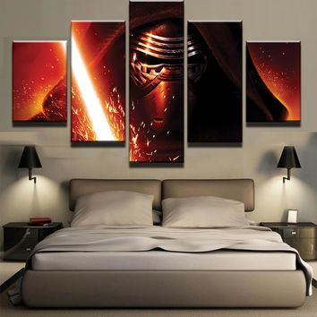 Star Wars Darth Vader Lightsaber Wall Art Canvas5  Panel Print Picture Poster