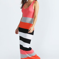 Carmen Multi Stripe Racer Back Maxi Dress