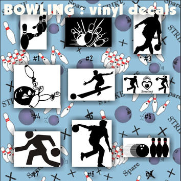 BOWLING vinyl decals - 1-9 - car window stickers - team sports decals - vinyl sticker - custom vinyl decal