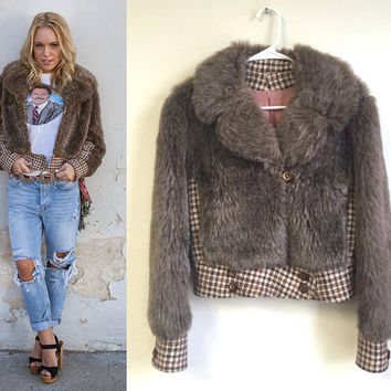 Brown Plaid Faux Fur Bomber Jacket - Small | Vintage Wool and Fur Coat Retro Rocker Biker Bomber Style Flight Jacket 60s 70s Disco Era S XS