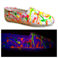 Custom TOMS Paint Splatter Glow in the Dark UV Reactive