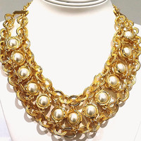 Karine Sultan Gold Pearl Necklace