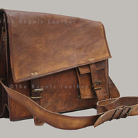 handmade leather shoulder bag (15 Inch )/ Handbags/ Portfolio Bag/ Cross Body/ Laptop/ Retro Satchel/ Ipad/  Pouch/ Case For him or her