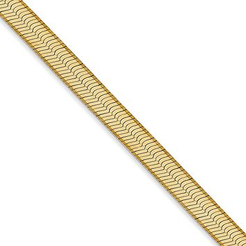 5mm, 14k Yellow Gold, Solid Herringbone Chain Necklace