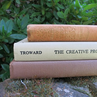 Charming 3 Book Collection / Neutral Beige Tan / Book Decor / Decorative Books / Instant Library / Wedding Decor