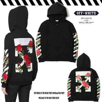 Off White Embroidered Flower Plant Hooded Zipper Sweater Jacket M Xxl | Best Deal Online