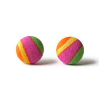 Orange Yellow Pink Green Multicolor Print Fabric Covered Button Earrings