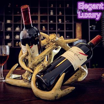 Handmade luxury  wine shelf decoration decoration Home Furnishing antlers antlers crafts European wine rack bar decoration ideas