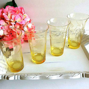 FOUR Yellow Antique Depression Etched Glass Tumblers drinking glasses  set, floral etching gently paneled glass, tall glassware