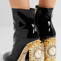 Dolce & Gabbana - Embellished patent-leather ankle boots