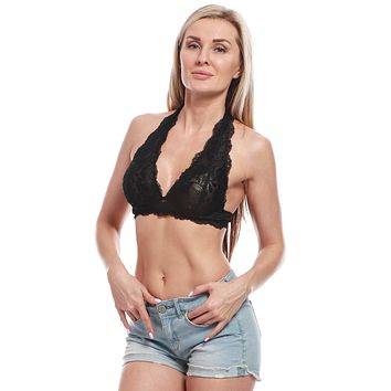 BellisMira Women's Scalloped Lace Halter Bralette With Adjustable Bra Clasp