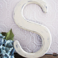 Letter S Baby Girl Nursery Antique White Shabby Chic Wall Decor