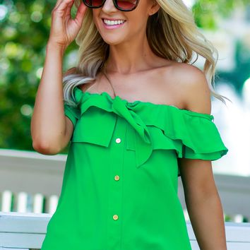 Button Ruffle Off The Shoulder Top Green