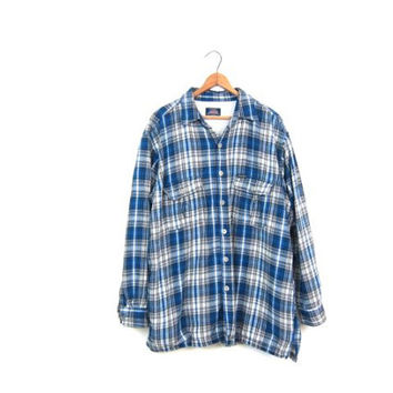 90s Dickies Plaid Flannel Shirt THERMAL Lined Oversized Grunge Jacket Blue Thick Cotton Button Up Shirt Vintage Mens Work Shirt Large
