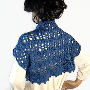 Outlander Claire Blue Shrug Scottish Denim Wrap Soft Crocheted Fraser Diana Gabaldon Winter Accessories Holiday Gifts FREE SHIPPING