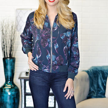 *  Buffy Floral Print Bomber Jacket: Purple/Teal