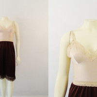 Vintage Slip 70s Vasserette Underneath It All Two Tone Full Slip Shiny Beige & Brown Stretch Nylon Satin Size 34F