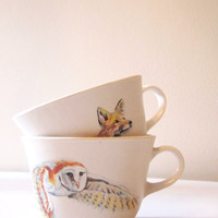 Woodland Animals Handpainted Teacups / Fox & Owl