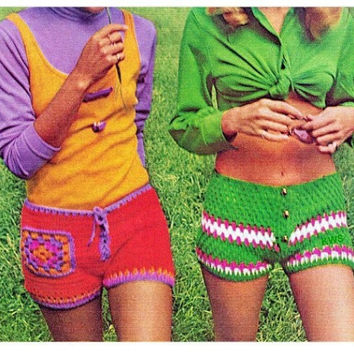 Crochet Pattern, Crochet Shorts PDF Pattern, Hippie Retro Instant Download Pattern