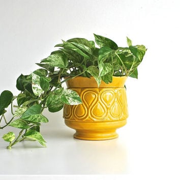 Yellow Planter or Flower Pot - Spring Summer Pottery