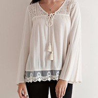 Lace Trim Top - Natural