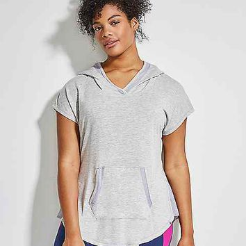 Spa Short-Sleeve Active Hoodie with Mesh | Lane Bryant