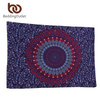 Black and Red Bohemian Mandala Microfiber Tapestry