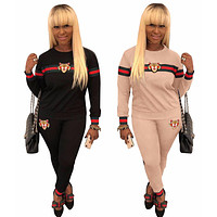GUCCI Women Fashion Embroidery Top Sweater Pullover Pants Trousers Set Two-Piece