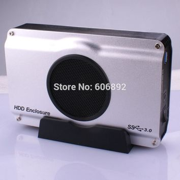 Free shipping 3.5 inch USB 3.0 to SATA HDD Enclosure Box case internal cool fan Factory Prices