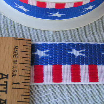 Stars and Stripes Ribbon, Jacquard type with a smooth finish top and botton.